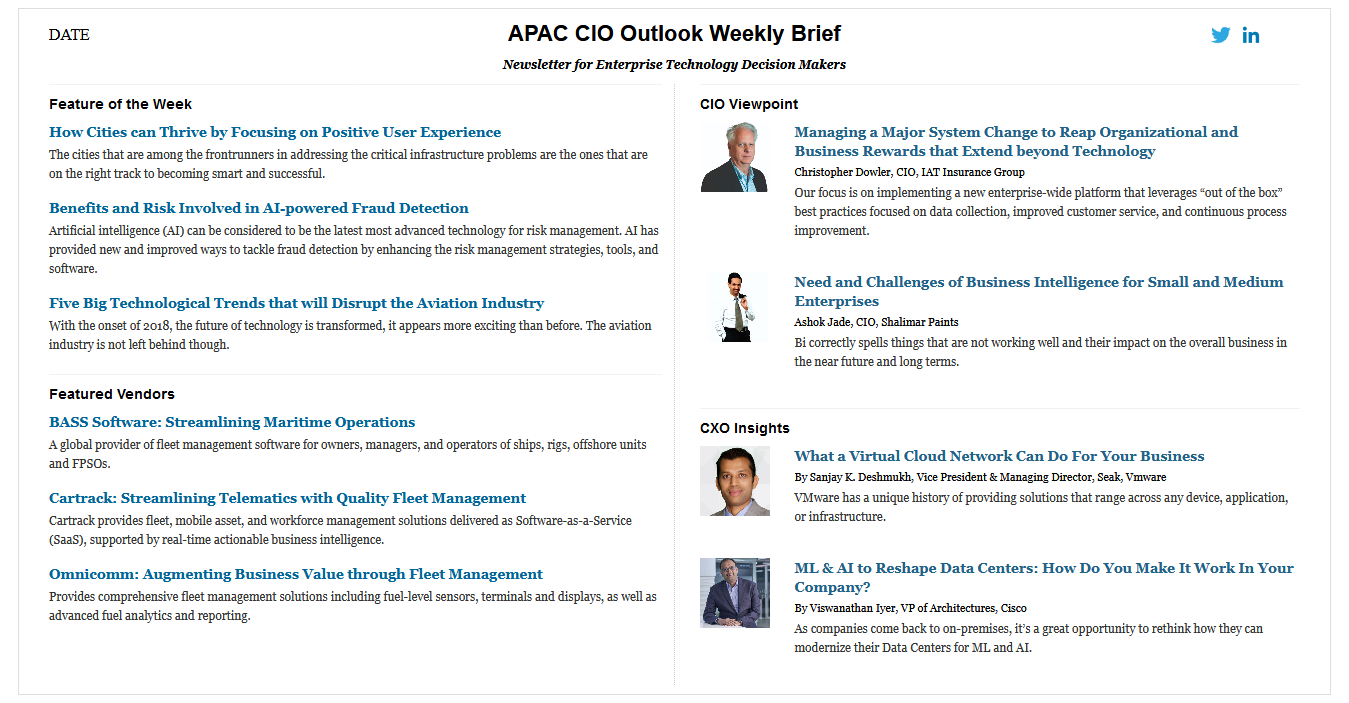 weekly newsletter signup vendors cio viewpoint cxo insights